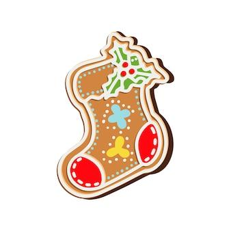 Печенье в рождественском носке. векторная иллюстрация