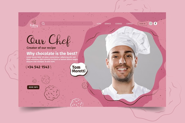 Cookies landing page template with photo