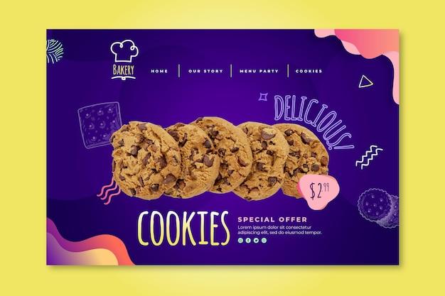 Modello di pagina di destinazione dei cookie