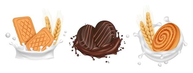 クッキー。ミルクチョコレートにビスケットがはねかけます。白い背景で隔離のリアルな調理済みのお菓子。イラスト牛乳とビスケット、チョコレートデザート