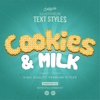 Cookies and milk text style