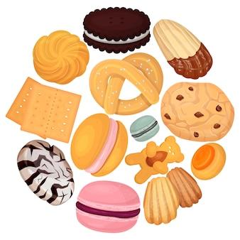 クッキー菓子パターン図。甘さビスケットドーナツ、美味しいお菓子、キャンディー用