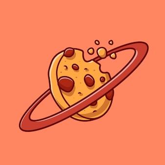 クッキー惑星漫画ベクトルアイコンイラスト。食品科学アイコンの概念分離プレミアムベクトル。フラット漫画スタイル