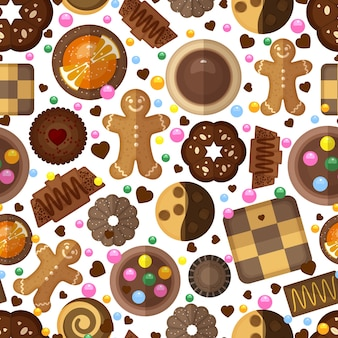 Бесшовный узор из печенья. десертные сладости, джемы и шоколад, вкусные продукты и имбирные пряники