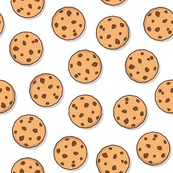 白い背景の上のクッキーのシームレスなパターン。おいしいクッキーコショウアイコンベクトル図