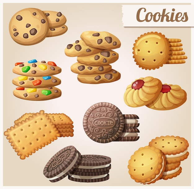 Cookies set of cartoon vector icons