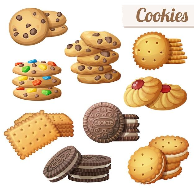 漫画のベクトル食品アイコンのクッキーセット
