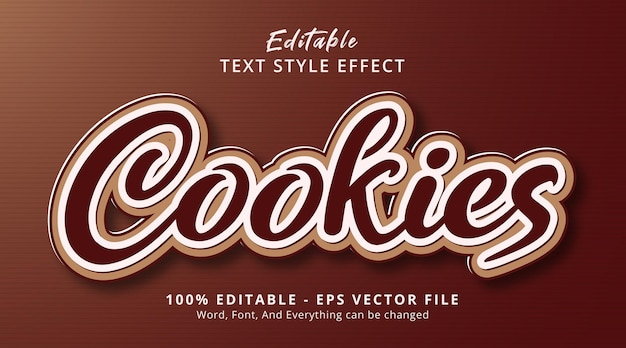 Cookies text on modern brown style effect template, editable text effect