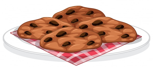 접시에 초콜릿 칩 쿠키