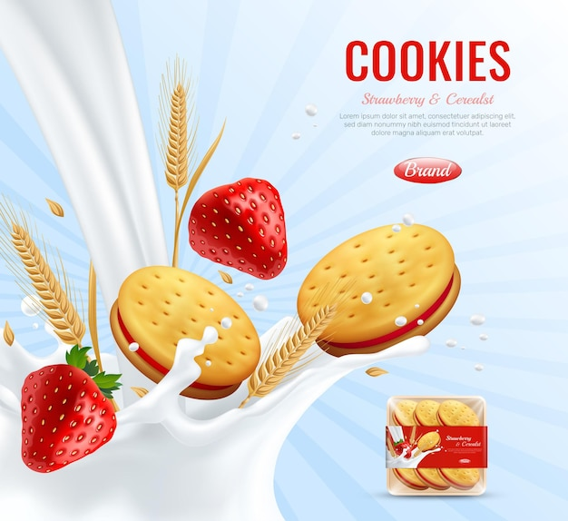 Cookies with strawberry jam layer advertising composition decorated by wheat ears and creamy spray realistic