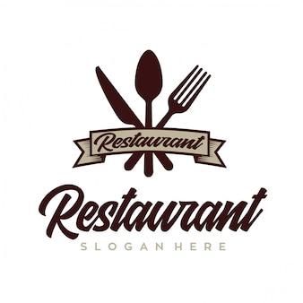 料理とレストランのロゴデザインベクトルレトロ