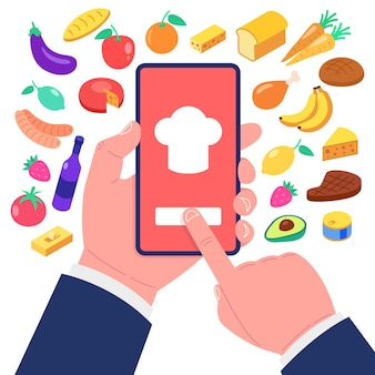 Приложение для приготовления пищи на экране смартфона. набор иконок продуктов питания.