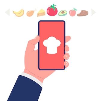 Приложение для приготовления пищи на экране смартфона. подбор ингредиентов для концепции рецепта. набор иконок продуктов питания.