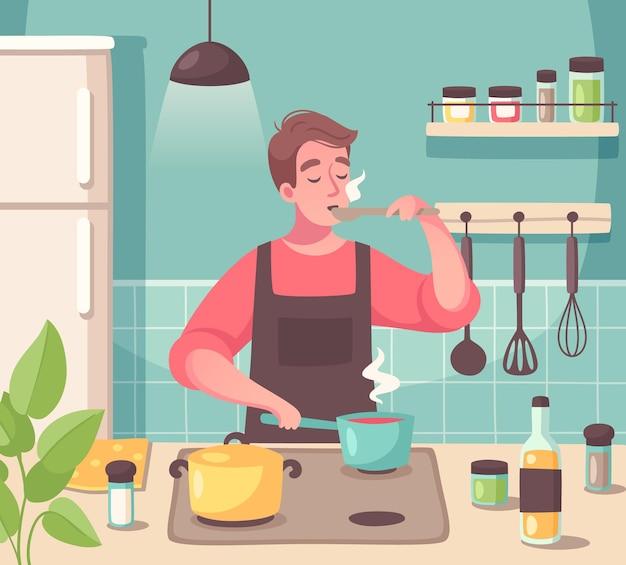 그의 부엌에서 요리를 시음하는 요리 경험을 즐기는 남자와 취미 구성으로 요리