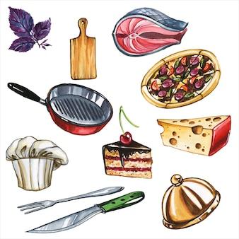 料理属性手描き水彩イラストセット。台所用品と製品、ユニフォームクック職場アイテムと食材アクアレル絵画コレクション