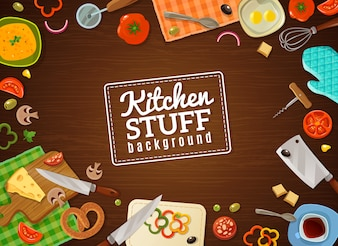 キッチン用品と料理の背景