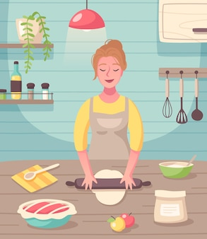 Cooking baking hobby flat composition with woman creating homemade sweets and treats desserts
