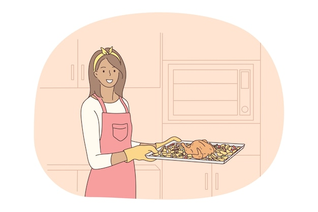 Cooking, baking, recipe concept. young smiling woman in apron and gloves carrying tray with roasted