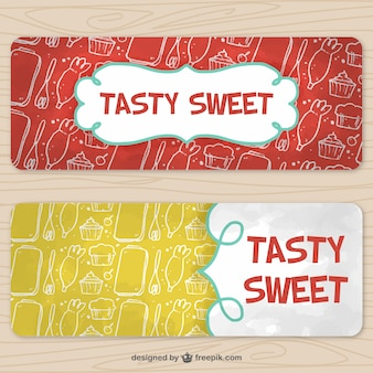 Cooking banners with hand-drawn elements