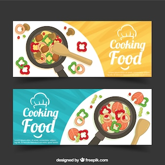 Cooking banners with vegetables and frying pan