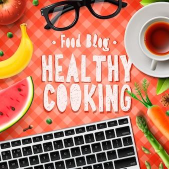 요리 블로그 건강한 요리법 온라인 벡터 일러스트 레이션