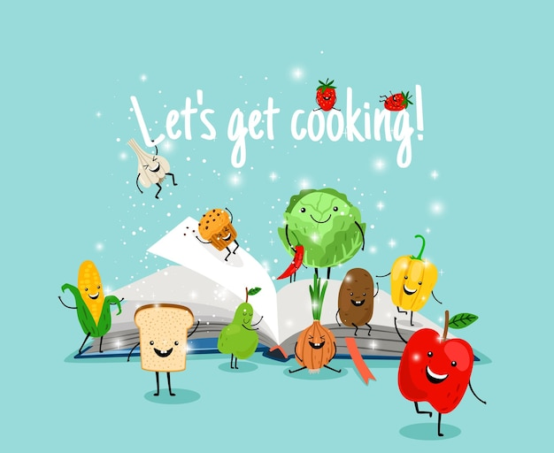 Cooking book with vegetables and fruits