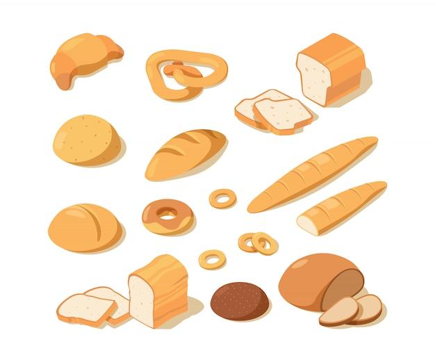 빵 요리. 빵집 음식 신선한 패스트리 흑백 빵 맛있는 프레첼 덩어리 사진