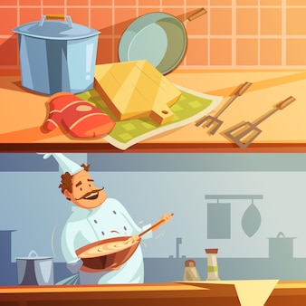 Cooking cartoon horizontal banners set with chef and kitchen utensils