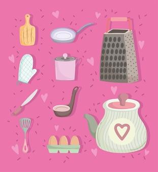 漫画の台所用品を調理する