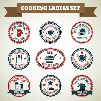 Cooking chef labels set of good catering delicious food always fresh isolated vector illustration