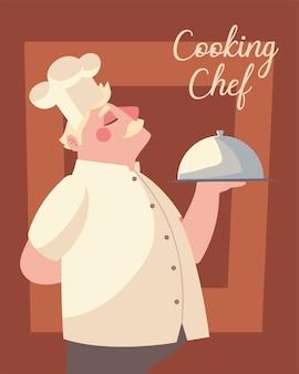 Cooking chef worker meal restaurant service vector illustration