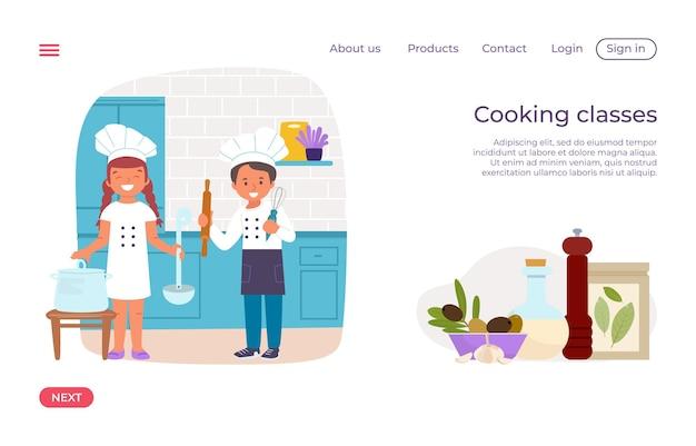 Cooking children class modern landing page
