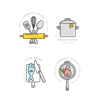 クッキングクラスの線形デザイン要素、キッチンエンブレム、シンボル、アイコン、またはフードスタジオラベルのセット