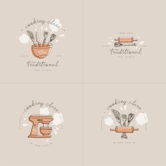 料理教室の線形デザイン要素、キッチンエンブレムのセット。