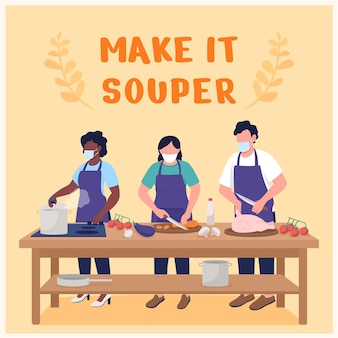 Cooking class social media post mockup. make it souper phrase. web banner design template. culinary workshop booster, content layout with inscription. poster, print ads and flat illustration