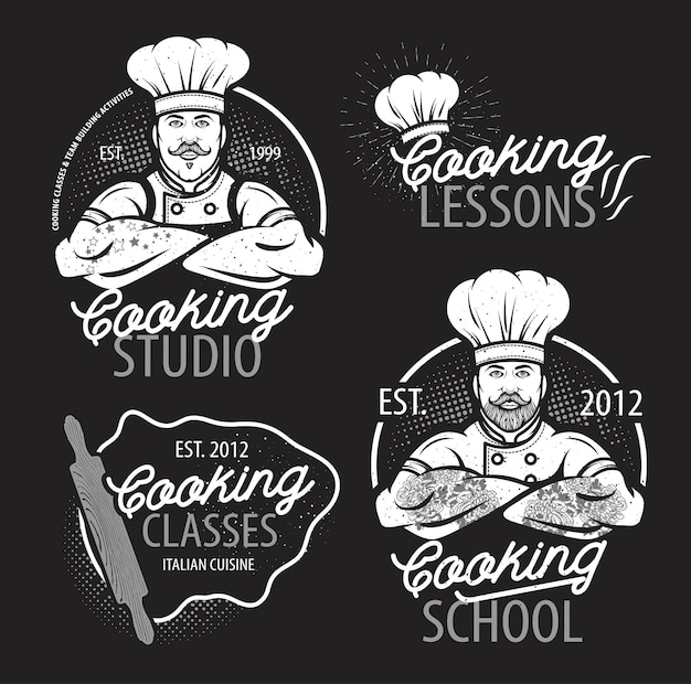 Cooking class template logo with chef modern design poster
