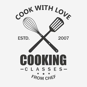 요리 수업. Cook 로고 프리미엄 벡터