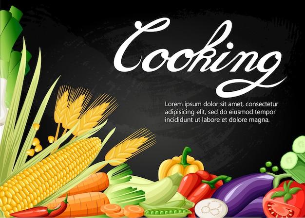 クッキングコレクション背景塩コショウスパイス雑誌の本のポスターカードメニューの表紙に使用される白い背景の上の新鮮な漫画別の野菜。 webサイトページとモバイルアプリ