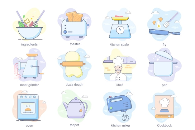 料理のコンセプトフラットアイコンセット材料の束トースターキッチンスケールピザ生地シェフパンオーブン...