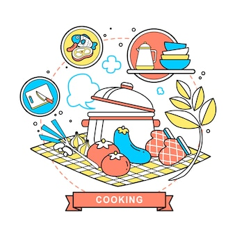Cooking concept illustration in flat line style