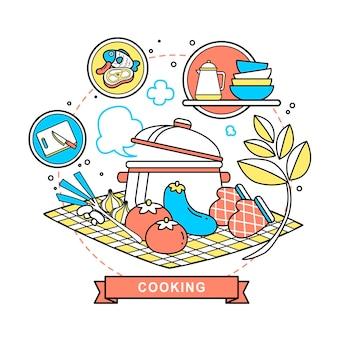 フラットラインスタイルの料理のコンセプトイラスト