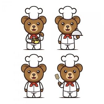 Cooking cute bear mascot design