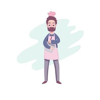 요리 아빠. 그의 손에 냄비와 요리사 모자와 앞치마에 귀여운 만화 캐릭터는 저녁 식사를 준비하고 있습니다.