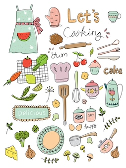 Cooking doodle set vector illustration