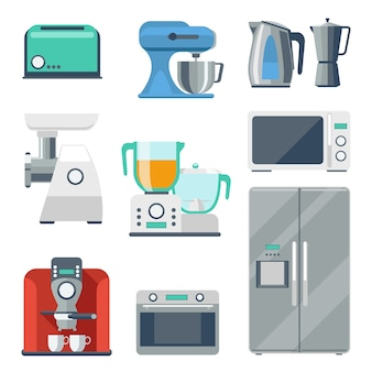 Cooking equipment flat icons set. toaster and stove, kettle and mixer, refrigerator and grinder, blender object.