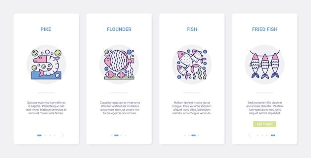 Технология приготовления рыбы и морепродуктов, меню из жареной рыбы. ux, пользовательский интерфейс мобильного приложения, устанавливающего символы свежей сырой и жареной камбалы из щуки, готовьте блюда из морепродуктов на кухне