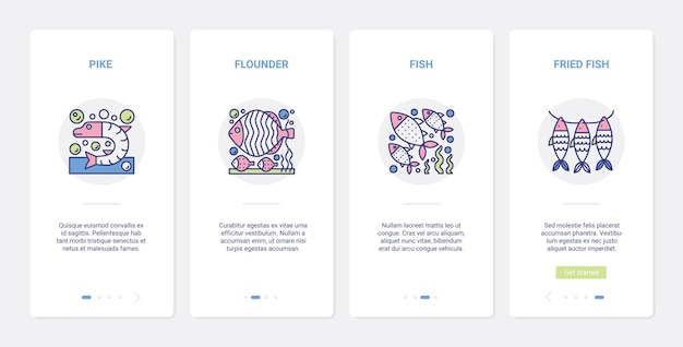 Cooking fish and seafood technology, fried fish menu. ux, ui onboarding mobile app set fresh raw and fried pike flounder symbols, cook marine food in kitchen