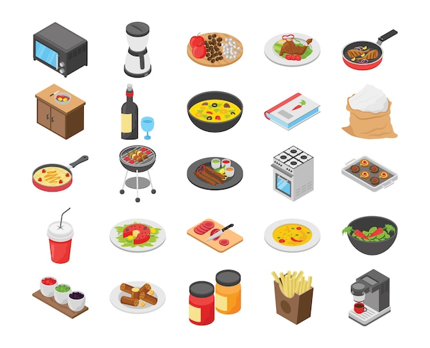Cooking flat icons pack
