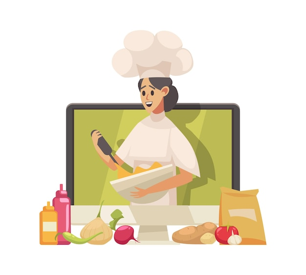 Cooking food blogger cartoon icon with woman character on computer monitor