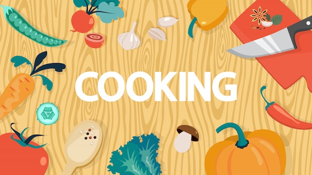 부엌 장비와 음식 요리 음식 개념. 웹 사이트 배너. 집에서 건강한 저녁 식사를 요리하는 아이디어. 삽화